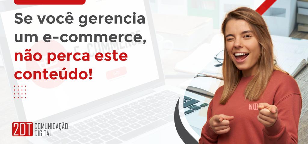 """gerenciamento do e-commerce: Mulher loira sorridente apontando pra frente ao lado do título """"Se você gerencia um e-commerce, não perca este conteúdo"""""""